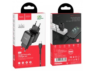 СЗУ HOCO N2 Vigour 1USB/2A + Type-C cable Black