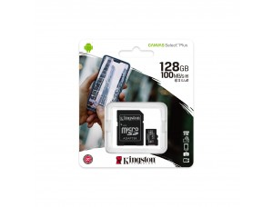 microSDXC (UHS-1) Kingston Canvas Select Plus 128Gb class 10 А1 (R-100MB/s) (adapter SD)