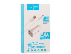 АЗУ HOCO Z12 Elite 2USB/2,4A Micro Set white