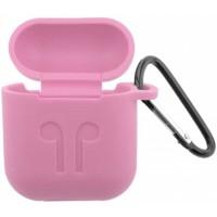 Чехол for AirPods силиконовый SLIM LOGO + карабин тех.пак Pink